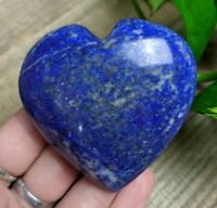 "2.3"" LAPIS LAZULI w PYRITE Puffy Heart H13 Crystal Reiki Charged 4.4oz"
