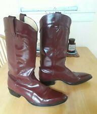 JOHN FLUEVOG RED LEATHER COWBOY BOOTS 8.5 WESTERN ROCKABILLY