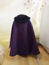 "1:6 Scale Purple Cape cloak W Black fur collar For 12"" Male&Female Body Doll Toy"