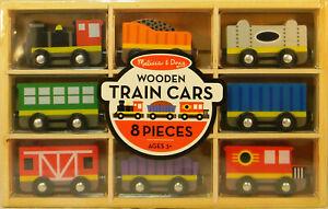 NEW Melissa and Doug #5186 8 Wooden Train Cars Set
