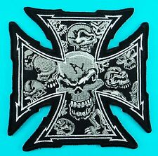 SKULL FACE Cross Black Motorcycle Biker Embroidered Iron On Patch Skeleton New