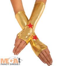 Wonder Woman Gauntlets Ladies Fancy Dress Superhero Costume Accessory Gloves