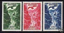 """ANDORRE POSTE AERIENNE 1955-57  Y&T 2 / 4 """" VALLEE RAPACE """" NEUFS xx TTB"""