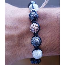 Mens Black White & Red Diamond Shamballa Bracelet With Onyx