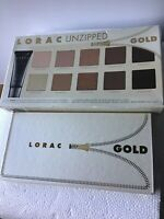 Lorac Unzipped Gold Shimmer & Matte Eyeshadow Palette  10 Color +prime New