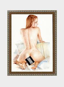 aquarelle watercolor A4 nude female drawing originale nu women woman girl new 31