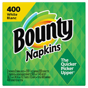 400 Bounty Paper Quilted Napkins, White, 400 Count Napkins - NEW FAST SHIPPING!