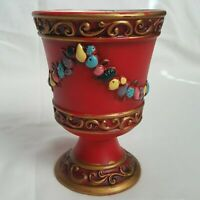 Vtg Napcoware Japan Red Painted Goblet Planter Fruit Floral Gold Swirl Holiday