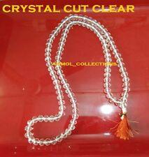 Original Crystal Cut Clear Mala Beads Japa Mala Prayer Meditation Healing Aura