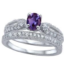 Oval Amethyst CZ Engagement Wedding Silver Ring Set
