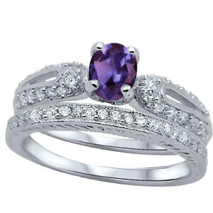 Oval Amethyst CZ Engagement Wedding Silver Ring Set
