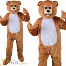 Adult Teddy Bear Mascot Costume Unisex Jungle Animal Big Head Fancy Dress Outfit