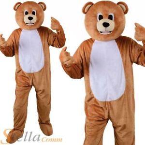Adult Teddy Bear Mascot Costume Unisex Jungle Animal Big Head Fancy Dress Outfit
