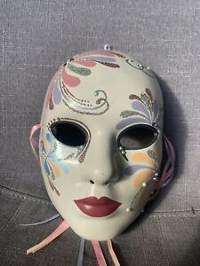 Collectable Pretty Hand painted Face Masks Signed C Williamson Beautiful Pink