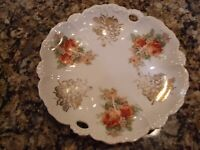 "Vintage Floral Made in  Germany Porcelain Vegetable Bowl 9.5"" Roses Rose Antique"