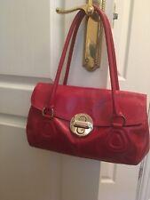Ri2K Ladies Designer Soft Red Leather Grab Bag- Twin Handles