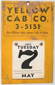 Vtg 1957 YELLOW CAB COMPANY Day/Date Calendar Taxi Service Advertising Wall Hang
