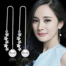 925 Silver 5 Pentagram Pearl Tassel Long Ear Line Earrings Fashion Women Jewelry