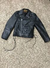 MANZOOR Black Biker Motorcycle  Jacket Heavy Genuine Leather Size Small