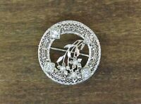 ANTIQUE ART DECO 14k White Gold Diamond Filigree Circle Flower Pin 1.25CTS