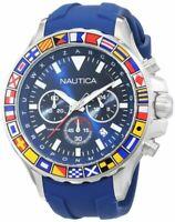Nautica Men's NST 1000 47mm Silicone Band Steel Case Quartz Watch NAD19562G