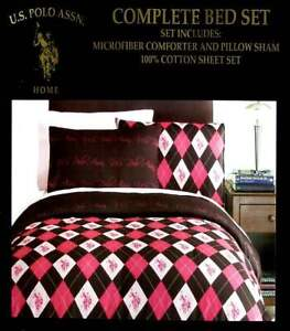 US POLO ASSOCIATION PINK BROWN ARGYLE TWIN COMFORTER SHEETS SHAM 5PC BEDDING NEW