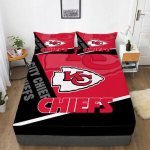 Kansas City Chiefs Fitted Sheet Pillowcases Deep Pocket Bed Sheet Set 3PCS Gift