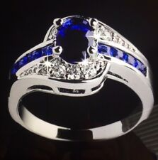 Jewelry CZ Rings For Women Silver Plated with Blue Crystal Size 9