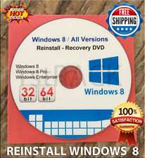 Windows 8  All Versions  32 & 64bit  - Restore - Repair -  Reinstall DVD w/HD