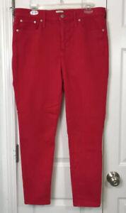 "J.Crew 10"" Hi-Rise Toothpick Red Jeans Pants Sz 32"