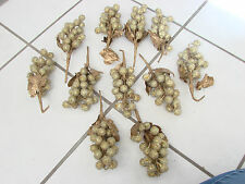 """Christmas /Wedding lot of gold & white beaded grape clusters 8 1/2"""" decorations"""