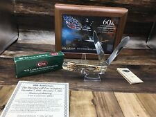 """2001 Case """"60th Anniv. Pearl Harbor"""" Trapper Knife With Walnut Display Mint SN#:"""