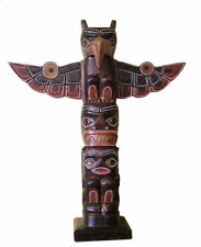 Totem Pole, 40cm Tall, Native American Style with Eagle, Hand Made, Wooden Item