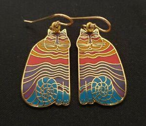 Laurel Burch Rainbow Cats cloisonne earrings