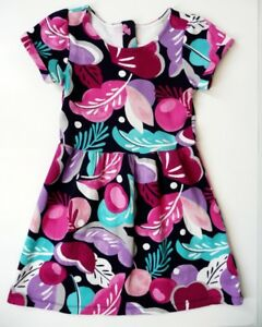 Gymboree Back to Blooms S/S Floral Dress Sz 7 Girls Cotton Knit Full Skirt