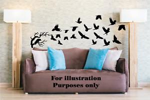 Flock of Birds Crows, Raven, Crow tree Silhouette Vinyl Wall Decal Sticker