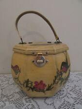 Vintage Handmade Octagon Floral Birds Decoupage Wooden Box Purse Case