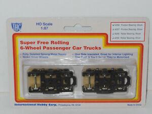 HO IHC Super Free Rolling 6 WHEEL Passenger Car Trks Black Friction Brg NS whls