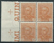 1929 REGNO EFFIGIE 15 CENT QUARTINA MNH ** - T157-2