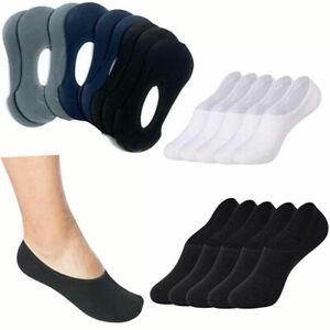 3,6 Pairs Women Invisible Socks Mens Trainer Shoe Liner Anti Slip Run Gym Sock