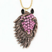 Betsey Johnson Crystal Rhinestone Big Horse Head Pendant Sweater Chain Necklace