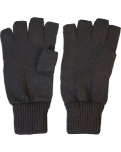Kombat Thermal Insulated Gloves BLACK knitted FINGERLESS Army warm L/M/XL 1 size