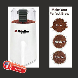 Mueller Electric Hyper Grind Precision Coffee Grinder, Large Capacity, White