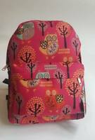 New Small Soft Canvas Rucksack/Backpack Owl Animal Pattern Navy Blue/Black/Pink