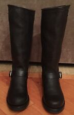 WOMEN FRYE VERONICA SLOUCH BLACK LAMB LEATHER TALL BOOTS SZ 8