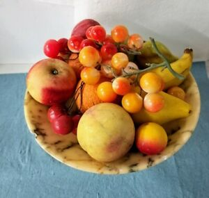 EARLY ANTIQUE ALABASTER STONE FRUIT BOWL WITH ALABASTER FRUIT