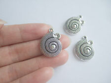 10 Tibetan Silver Spiral Sea Shell Charms Pendants Beads For Jewellery Making