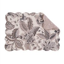 AURELIA Quilted Reversible Placemat by C&F - Charcoal, Grays, Taupe, Ivory