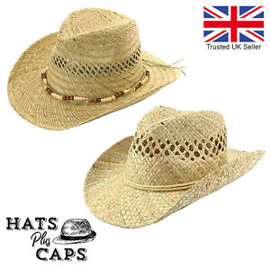 Straw Cowboy Sun Hat Summer Fedora 100% Natural Straw Mens Ladies