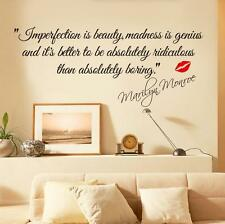 Imperfection Is Beauty MARILYN MONROE WALL STICKER DECAL QUOTE MURAL ART
